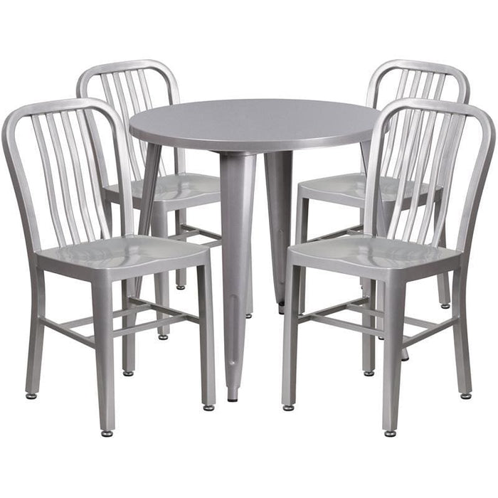30 Round Silver Metal Indoor-Outdoor Table Set With 4 Vertical Slat Back Chairs - Indoor Outdoor Sets