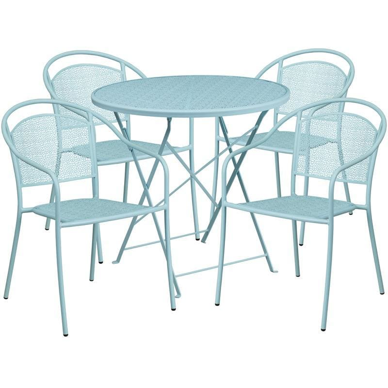 30 Round Sky Blue Indoor-Outdoor Steel Folding Patio Table Set With 4 Round Back Chairs - Indoor Outdoor Sets