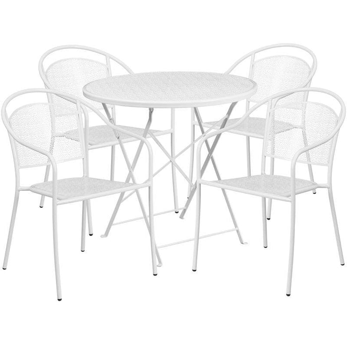 30 Round White Indoor-Outdoor Steel Folding Patio Table Set With 4 Round Back Chairs - Indoor Outdoor Sets