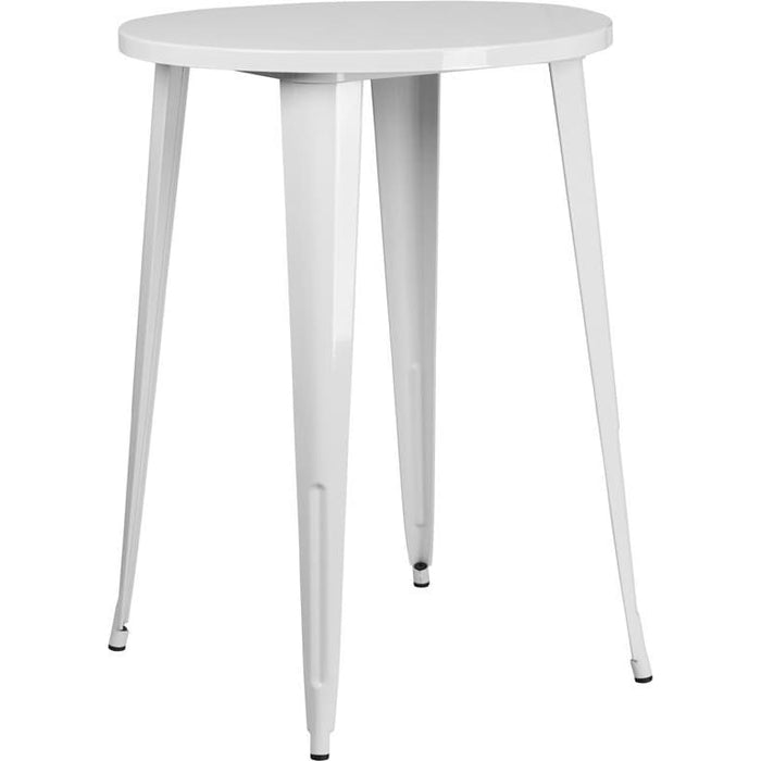 30 Round White Metal Indoor-Outdoor Bar Height Table - Indoor Outdoor Tables