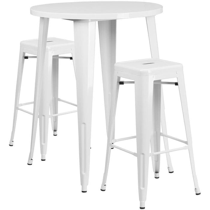 30 Round White Metal Indoor-Outdoor Bar Table Set With 2 Square Seat Backless Stools - Indoor Outdoor Sets