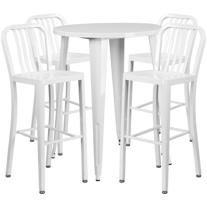 30 Round White Metal Indoor-Outdoor Bar Table Set With 4 Vertical Slat Back Stools - Indoor Outdoor Sets