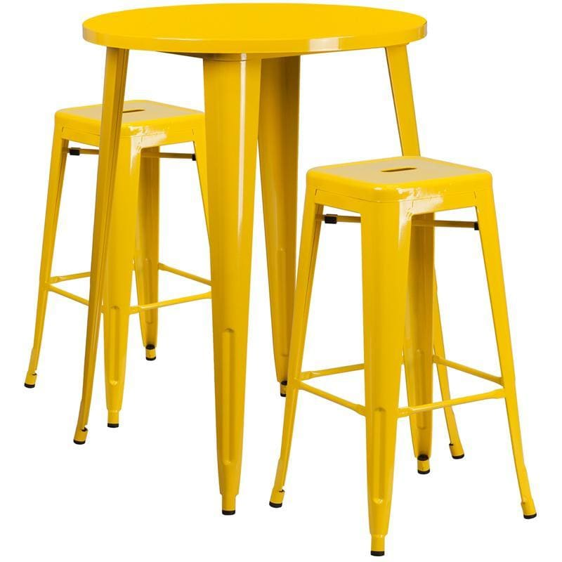 30 Round Yellow Metal Indoor-Outdoor Bar Table Set With 2 Square Seat Backless Stools - Indoor Outdoor Sets