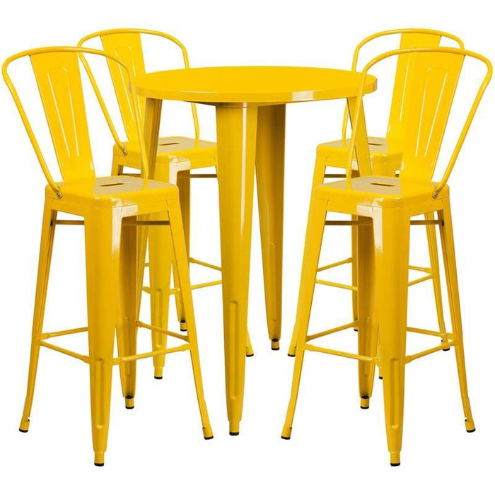 30 Round Yellow Metal Indoor-Outdoor Bar Table Set With 4 Cafe Stools - Indoor Outdoor Sets