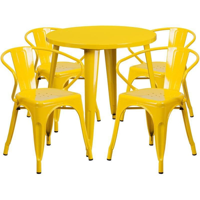 30 Round Yellow Metal Indoor-Outdoor Table Set With 4 Arm Chairs - Indoor Outdoor Sets