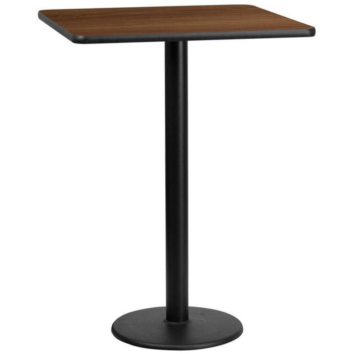 30 Square Walnut Laminate Table Top With 18 Round Bar Height Table Base - Restaurant Tables