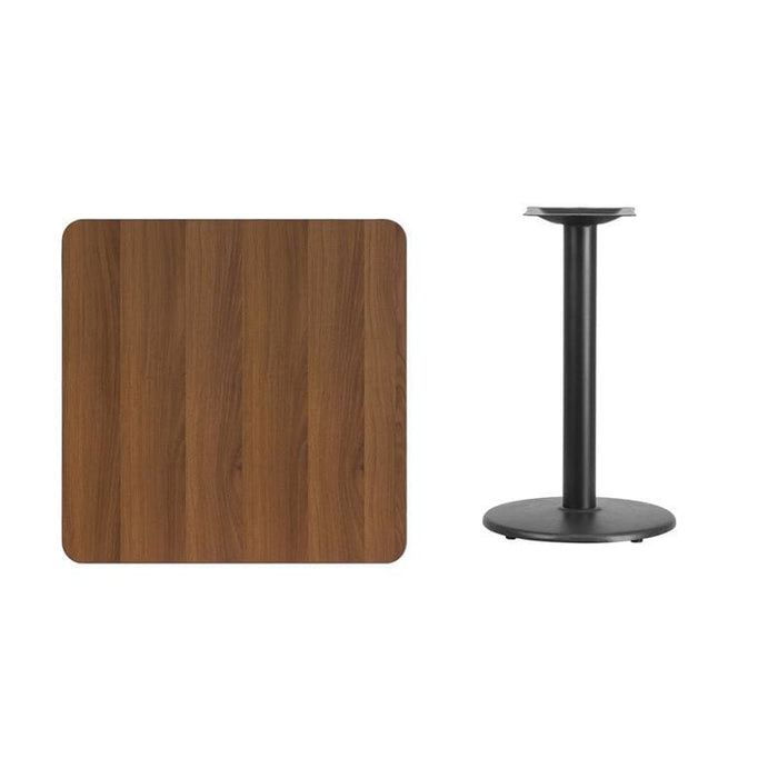 30 Square Walnut Laminate Table Top With 18 Round Table Height Base - Restaurant Tables