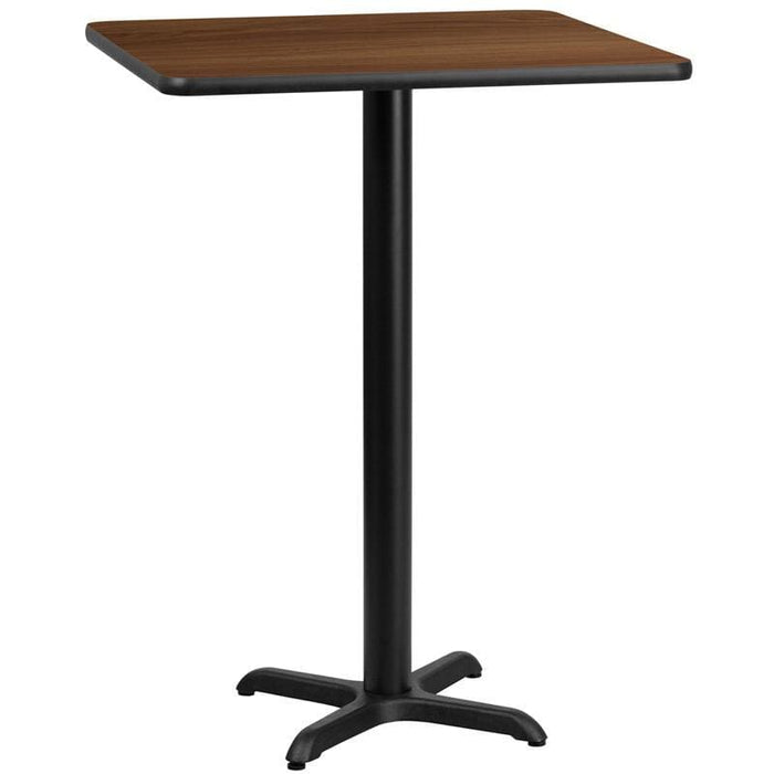 30 Square Walnut Laminate Table Top With 22 X 22 Bar Height Table Base - Restaurant Tables