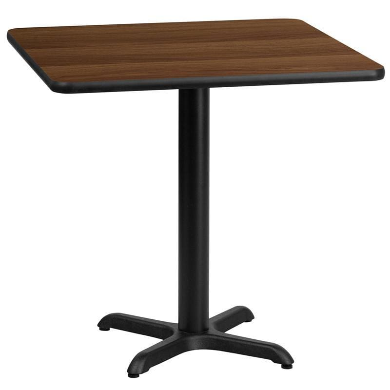 30 Square Walnut Laminate Table Top With 22 X 22 Table Height Base - Restaurant Tables