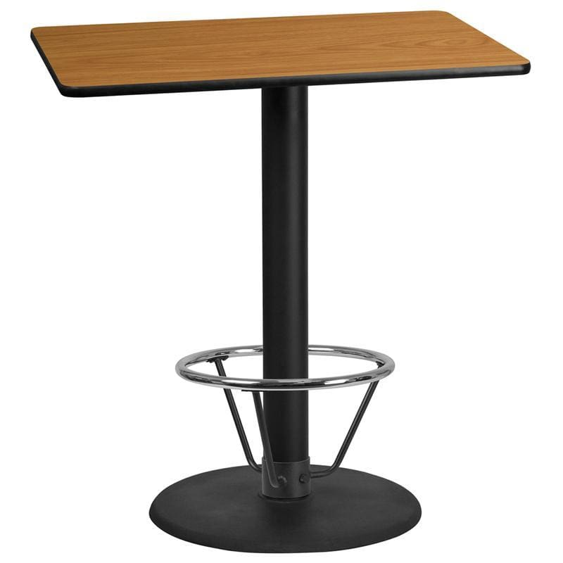 30 X 42 Rectangular Natural Laminate Table Top With 24 Round Bar Height Table Base And Foot Ring - Restaurant Tables