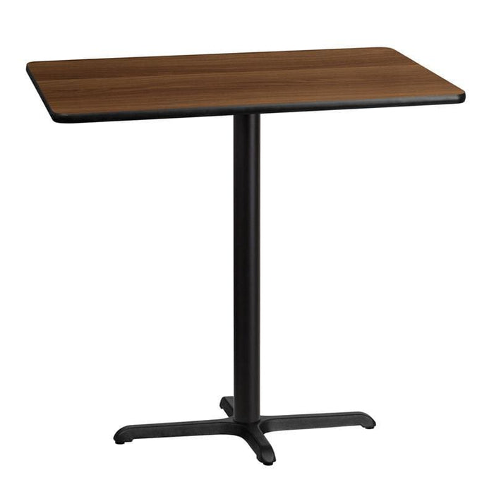 30 X 42 Rectangular Walnut Laminate Table Top With 22 X 30 Bar Height Table Base - Restaurant Tables