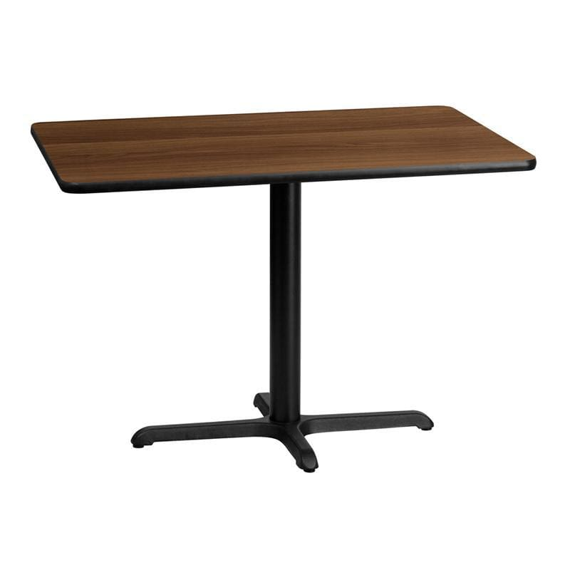 30 X 42 Rectangular Walnut Laminate Table Top With 22 X 30 Table Height Base - Restaurant Tables