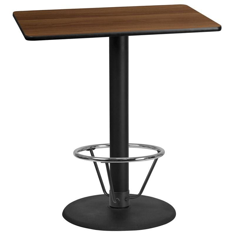 30 X 42 Rectangular Walnut Laminate Table Top With 24 Round Bar Height Table Base And Foot Ring - Restaurant Tables
