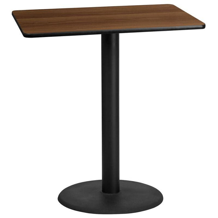 30 X 42 Rectangular Walnut Laminate Table Top With 24 Round Bar Height Table Base - Restaurant Tables