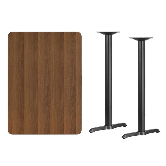 30 X 42 Rectangular Walnut Laminate Table Top With 5 X 22 Bar Height Table Bases - Restaurant Tables
