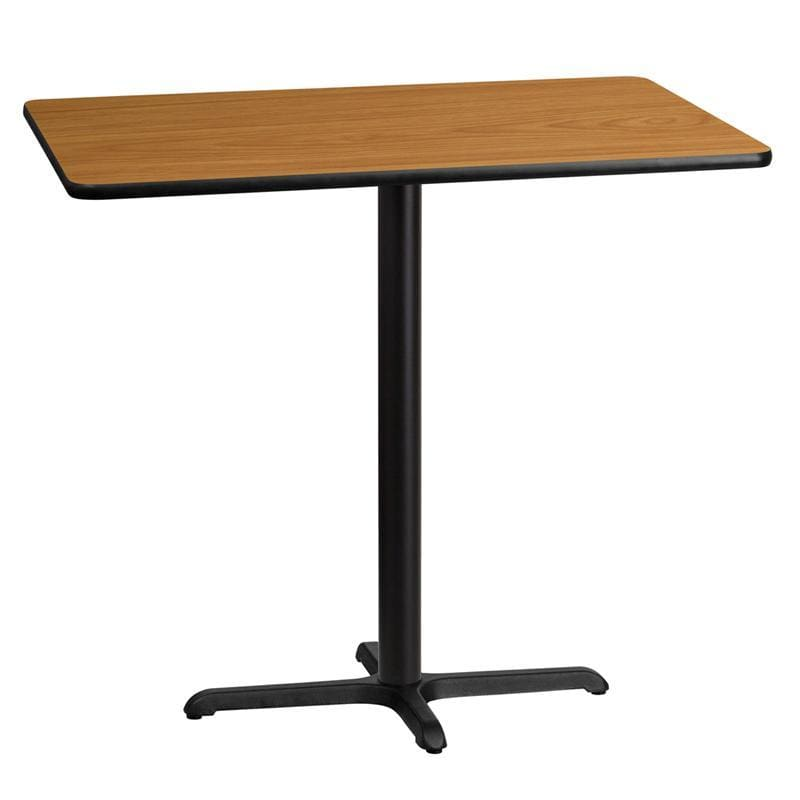 30 X 45 Rectangular Natural Laminate Table Top With 22 X 30 Bar Height Table Base - Restaurant Tables