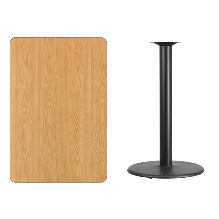 30 X 45 Rectangular Natural Laminate Table Top With 24 Round Bar Height Table Base - Restaurant Tables