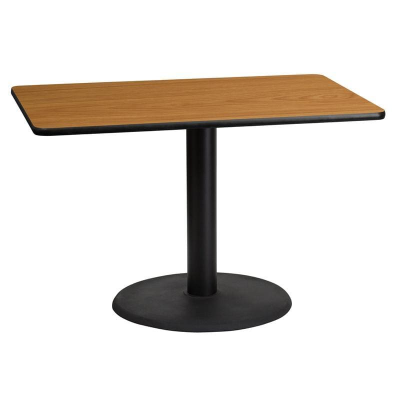 30 X 45 Rectangular Natural Laminate Table Top With 24 Round Table Height Base - Restaurant Tables
