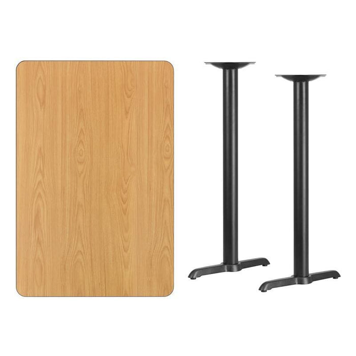 30 X 45 Rectangular Natural Laminate Table Top With 5 X 22 Bar Height Table Bases - Restaurant Tables