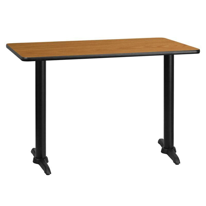 30 X 45 Rectangular Natural Laminate Table Top With 5 X 22 Table Height Bases - Restaurant Tables