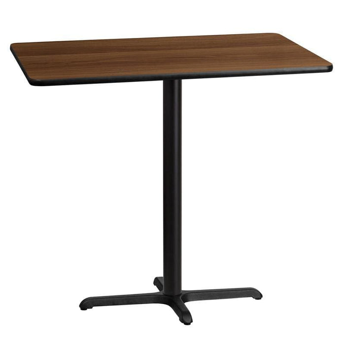 30 X 45 Rectangular Walnut Laminate Table Top With 22 X 30 Bar Height Table Base - Restaurant Tables