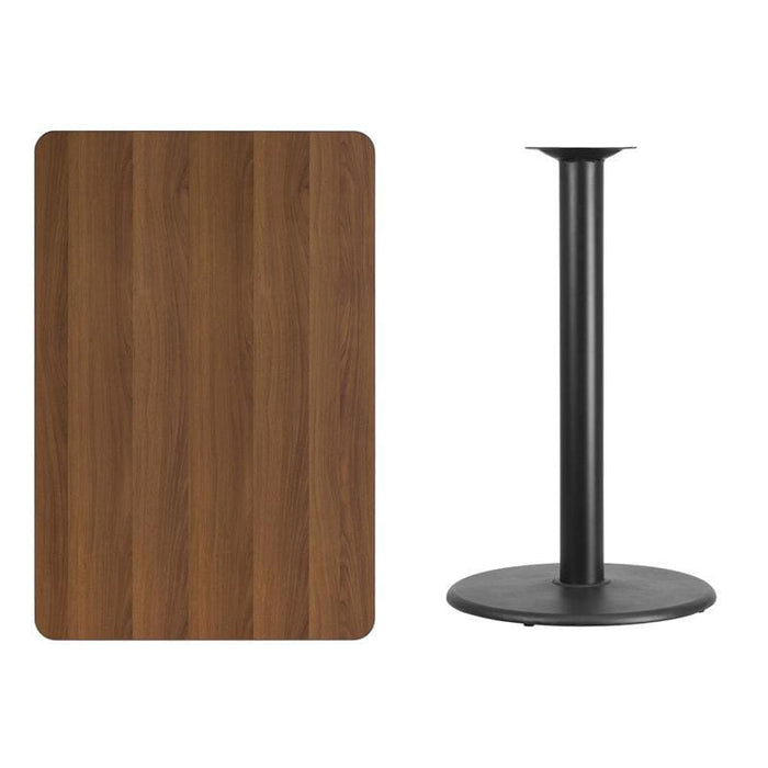 30 X 45 Rectangular Walnut Laminate Table Top With 24 Round Bar Height Table Base - Restaurant Tables