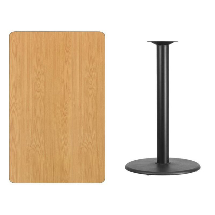 30 X 48 Rectangular Natural Laminate Table Top With 24 Round Bar Height Table Base - Restaurant Tables