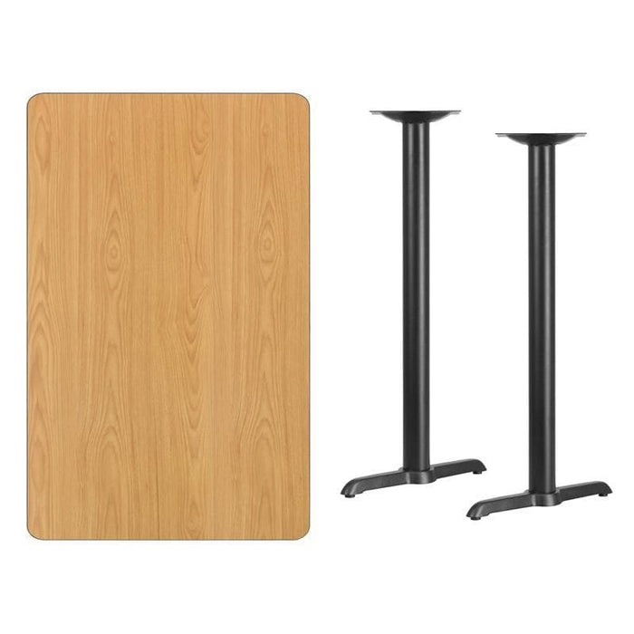 30 X 48 Rectangular Natural Laminate Table Top With 5 X 22 Bar Height Table Bases - Restaurant Tables