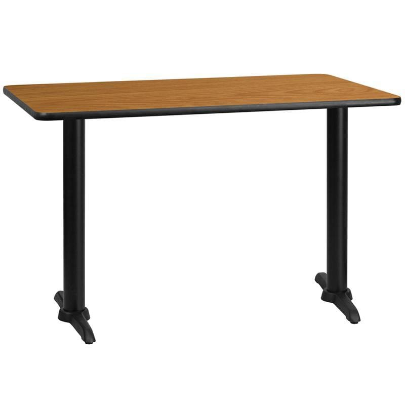 30 X 48 Rectangular Natural Laminate Table Top With 5 X 22 Table Height Bases - Restaurant Tables