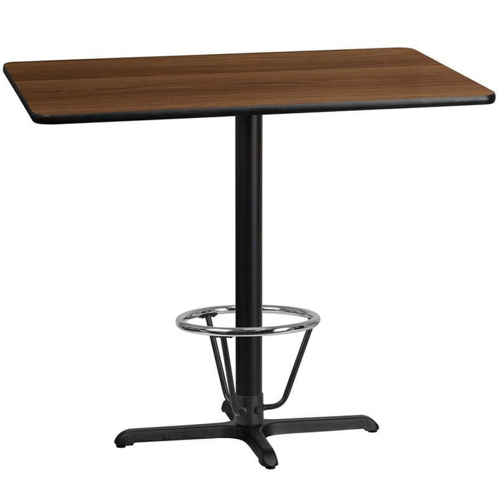 30 X 48 Rectangular Walnut Laminate Table Top With 22 X 30 Bar Height Table Base And Foot Ring - Restaurant Tables