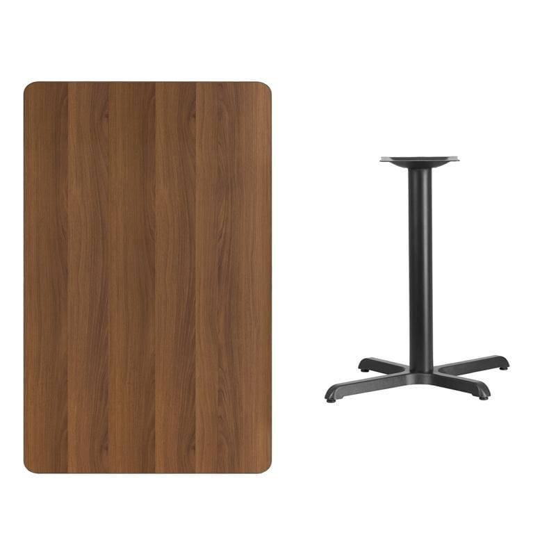 30 X 48 Rectangular Walnut Laminate Table Top With 22 X 30 Table Height Base - Restaurant Tables