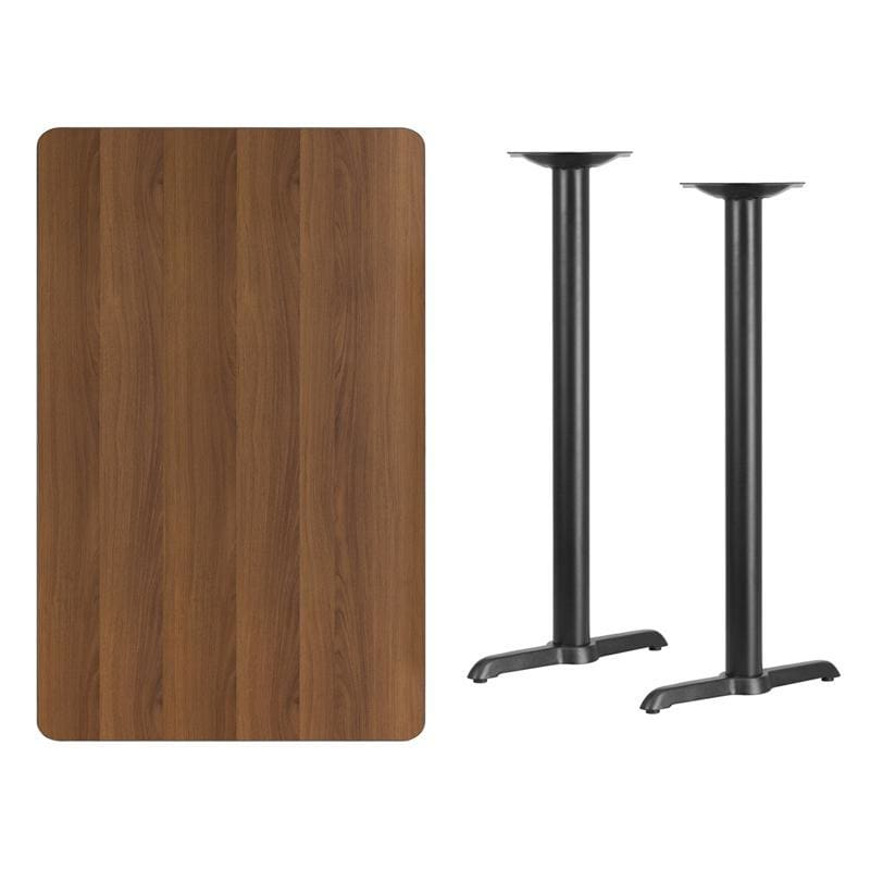 30 X 48 Rectangular Walnut Laminate Table Top With 5 X 22 Bar Height Table Bases - Restaurant Tables