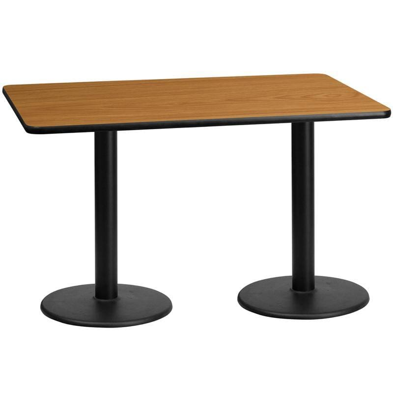 30 X 60 Rectangular Natural Laminate Table Top With 18 Round Table Height Bases - Restaurant Tables