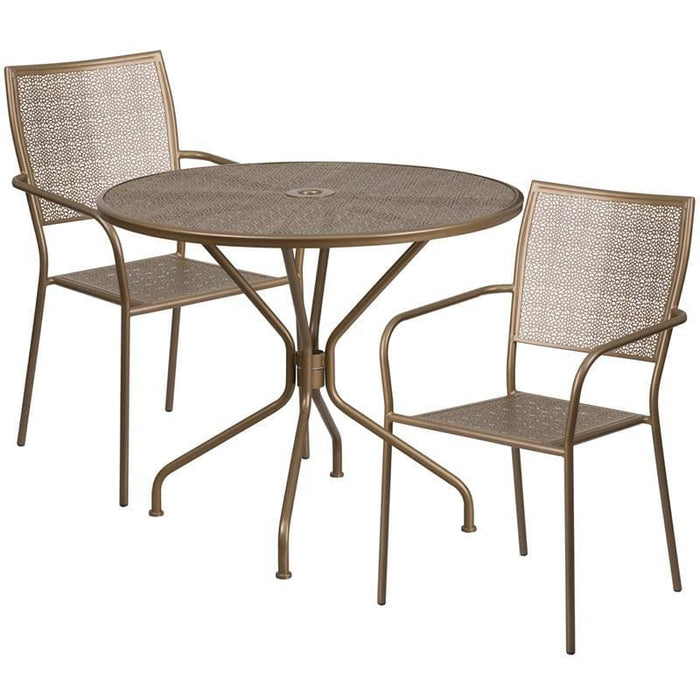 35.25 Round Gold Indoor-Outdoor Steel Patio Table Set With 2 Square Back Chairs - Indoor Outdoor Sets