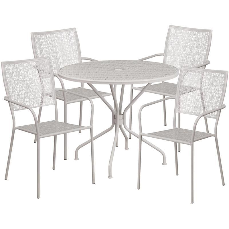 35.25 Round Light Gray Indoor-Outdoor Steel Patio Table Set With 4 Square Back Chairs - Indoor Outdoor Sets