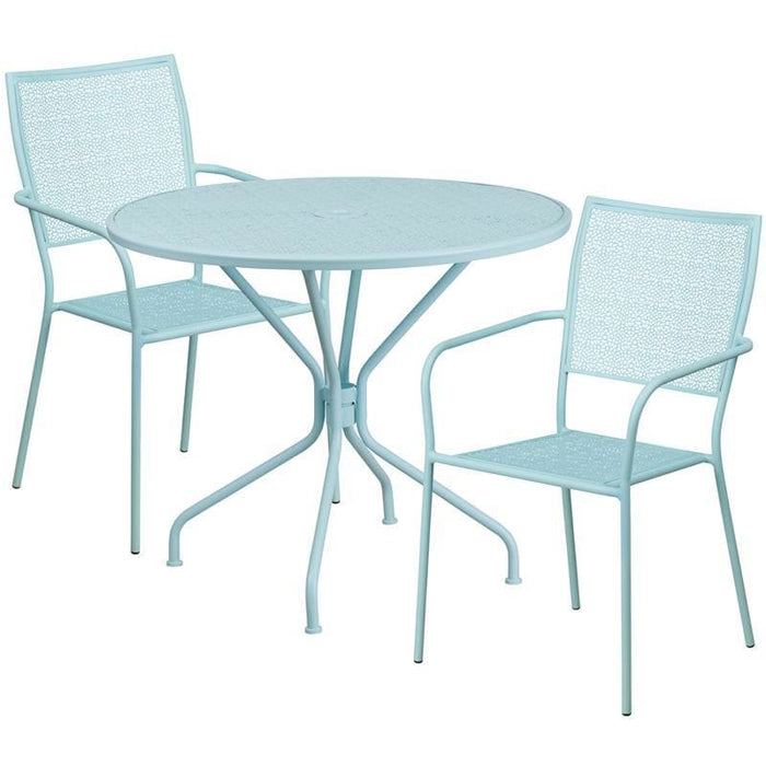 35.25 Round Sky Blue Indoor-Outdoor Steel Patio Table Set With 2 Square Back Chairs - Indoor Outdoor Sets
