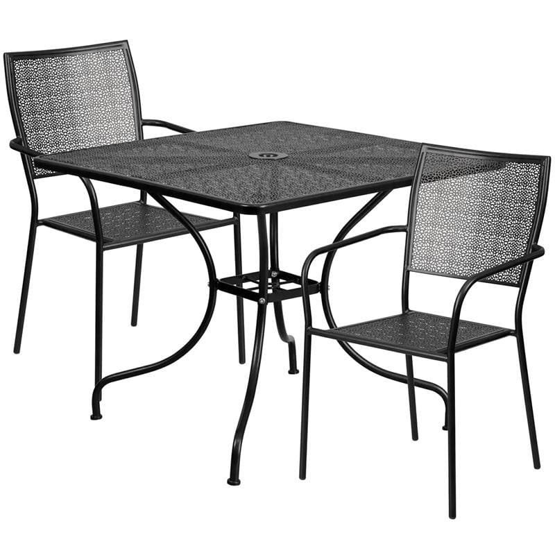 35.5 Square Black Indoor-Outdoor Steel Patio Table Set With 2 Square Back Chairs - Indoor Outdoor Sets