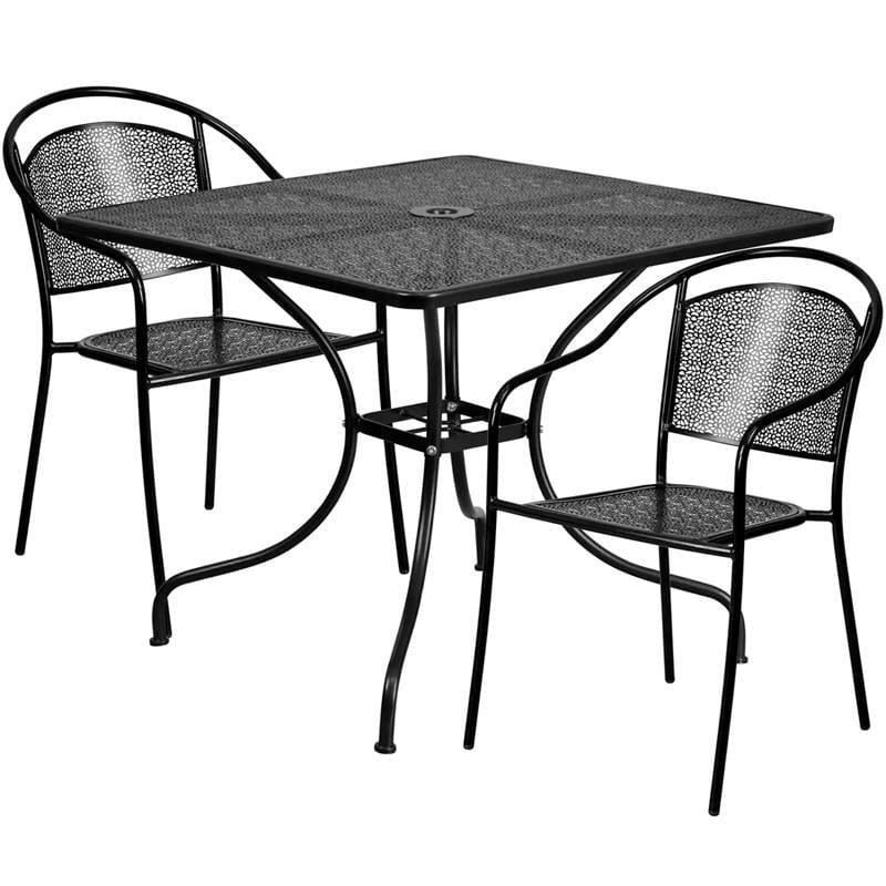 35.5 Square Black Indoor-Outdoor Steel Patio Table Set With 2 Round Back Chairs - Indoor Outdoor Sets