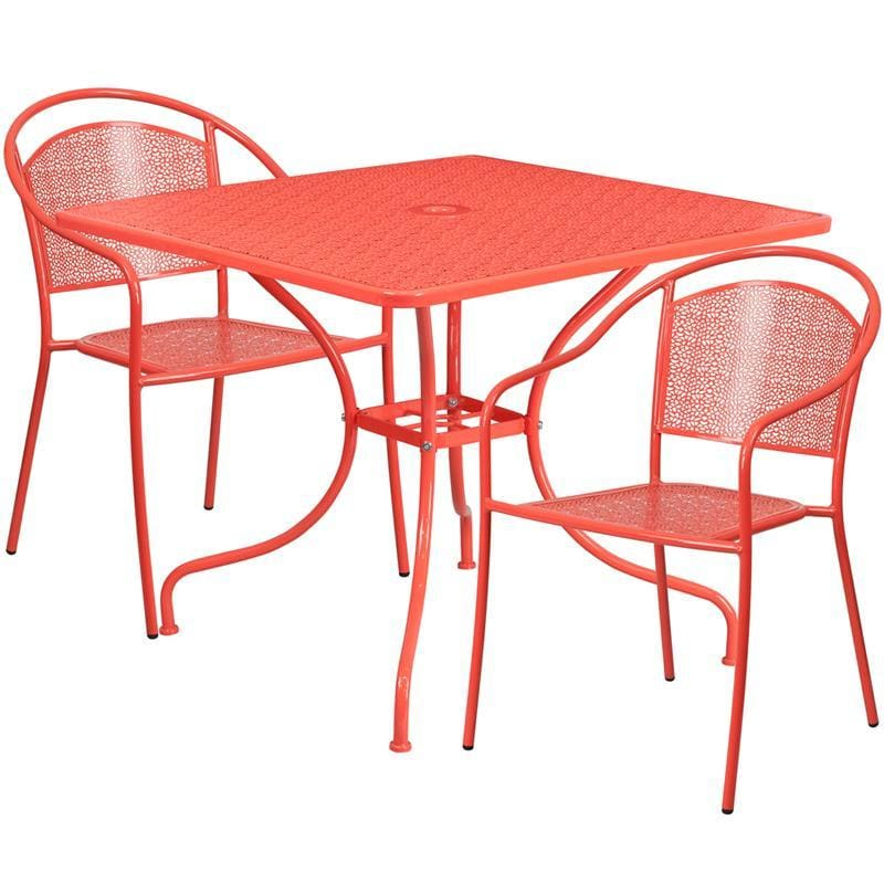 35.5 Square Coral Indoor-Outdoor Steel Patio Table Set With 2 Round Back Chairs - Indoor Outdoor Sets