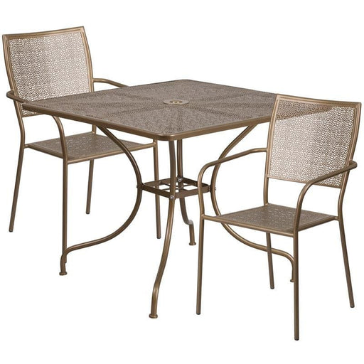 35.5 Square Gold Indoor-Outdoor Steel Patio Table Set With 2 Square Back Chairs - Indoor Outdoor Sets