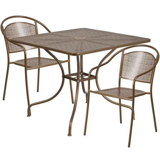 35.5 Square Gold Indoor-Outdoor Steel Patio Table Set With 2 Round Back Chairs - Indoor Outdoor Sets