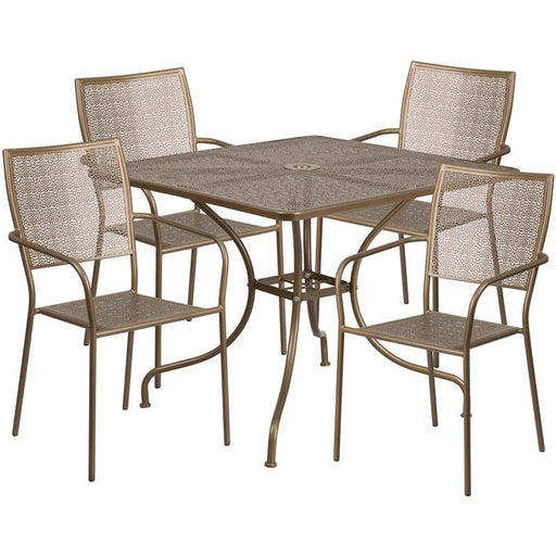 35.5 Square Gold Indoor-Outdoor Steel Patio Table Set With 4 Square Back Chairs - Indoor Outdoor Sets