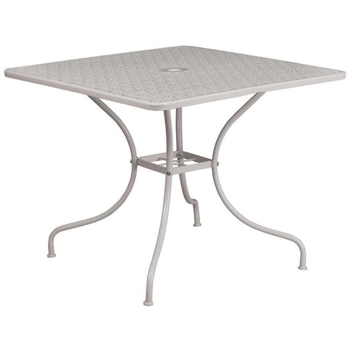 35.5 Square Light Gray Indoor-Outdoor Steel Patio Table - Indoor Outdoor Tables