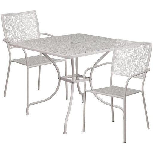 35.5 Square Light Gray Indoor-Outdoor Steel Patio Table Set With 2 Square Back Chairs - Indoor Outdoor Sets
