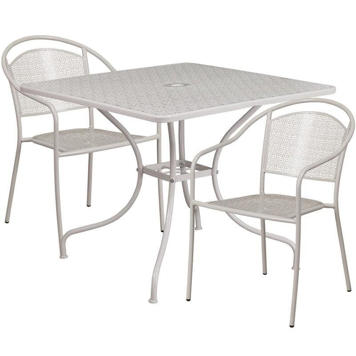 35.5 Square Light Gray Indoor-Outdoor Steel Patio Table Set With 2 Round Back Chairs - Indoor Outdoor Sets