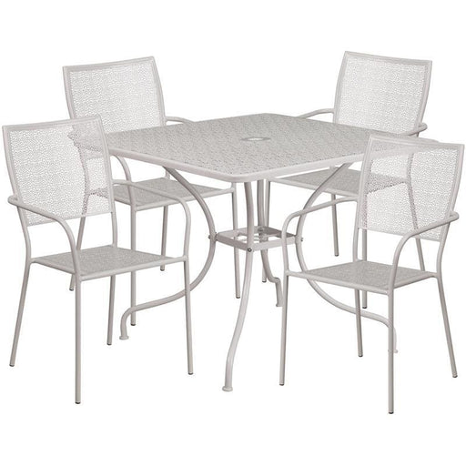 35.5 Square Light Gray Indoor-Outdoor Steel Patio Table Set With 4 Square Back Chairs - Indoor Outdoor Sets