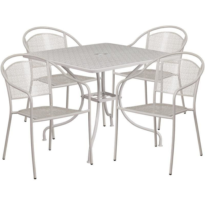 35.5 Square Light Gray Indoor-Outdoor Steel Patio Table Set With 4 Round Back Chairs - Indoor Outdoor Sets