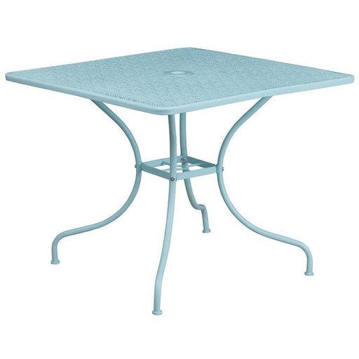 35.5 Square Sky Blue Indoor-Outdoor Steel Patio Table - Indoor Outdoor Tables