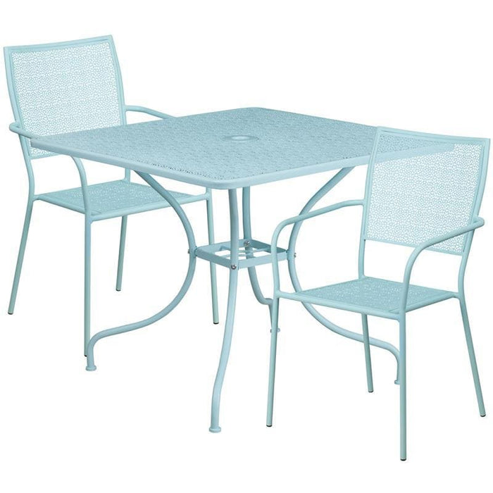 35.5 Square Sky Blue Indoor-Outdoor Steel Patio Table Set With 2 Square Back Chairs - Indoor Outdoor Sets