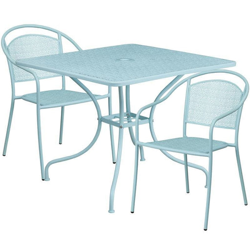 35.5 Square Sky Blue Indoor-Outdoor Steel Patio Table Set With 2 Round Back Chairs - Indoor Outdoor Sets